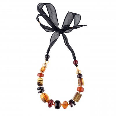 Royal on Silk Amber Necklace