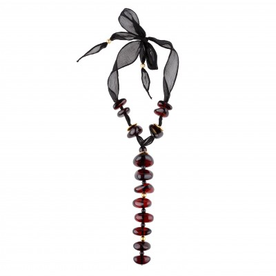 Cherry Bonbon on Silk Amber Necklace
