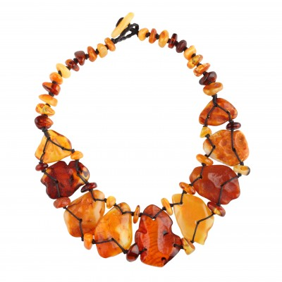 Colored Flintstone Amber Necklace