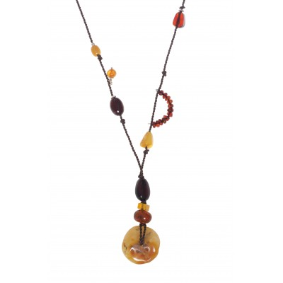 Rune Stone Amber Necklace