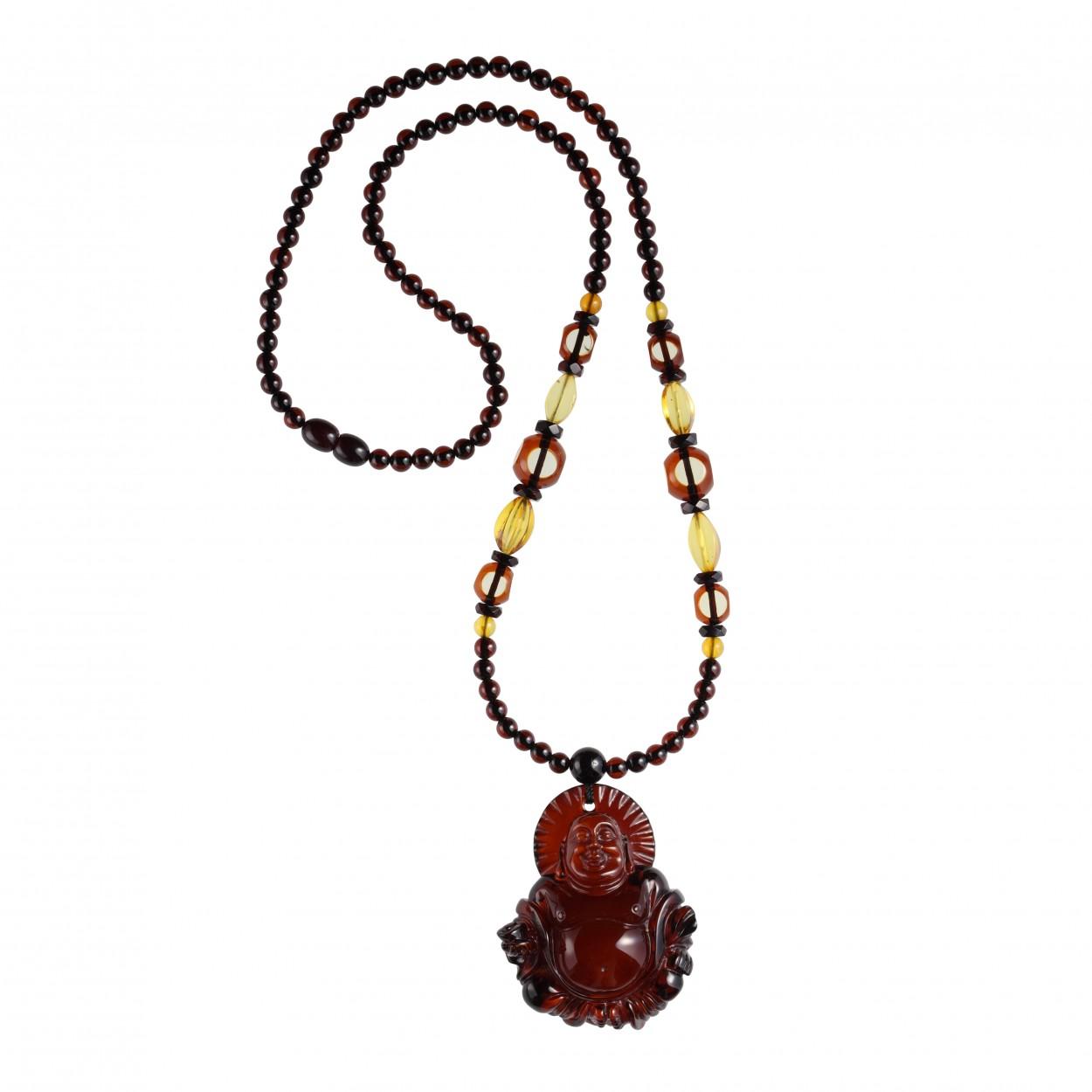 Amber Necklace Cherry Buddha