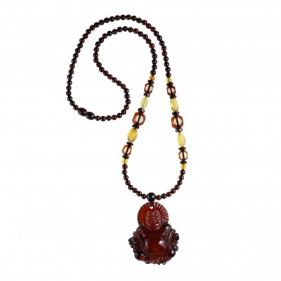 Amber Necklace Cherry Buddha