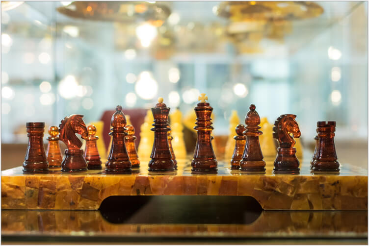 A chess board crafted from amber